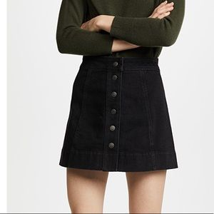 Madewell Black Wash Button Front Denim Mini Skirt